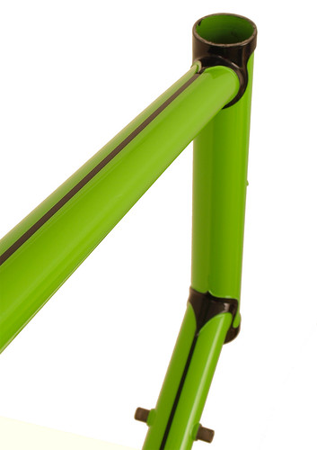 <p>Top tube view of Waterford 22-Series Disc Touring in Big Bad Green with Black Masked Lugs and frame lines.  This 66cm frame is design to support fully loaded touring with an unmistakable style.</p>