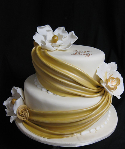 Gold Swags and Magnolias Wedding Cake