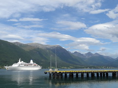 Andalsnes harbour Norway.  Fjord country. (denisbin) Tags: andalsnes norway fjord cruiseship harbour harbor country ship mountains wharf dock