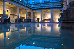 Golden hour at Roman Baths (martingriffiths10) Tags: england reflection water spring bath wiltshire minerva spa thermal romanbaths infocus highquality kingsspring aquaesilus