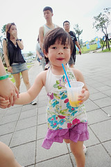 Hot Summer (Zorie Huang) Tags: morning light summer portrait baby hot cute girl asian kid child drink innocent taiwan olympus lovely taiwanese twoyearold holdhands tg2  zorie passionfruitshake