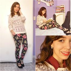 PicMonkey Collage (SuzanaSantos97) Tags: floral dark looks estampa calça sweter suéter