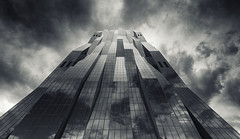 The Dark Tower (Philipp Klinger Photography) Tags: vienna wien city windows sky bw white black reflection tower window architecture clouds skyscraper reflections dark austria blackwhite sterreich nikon angle wide wideangle philipp ultra donau d800 uwa klinger dct ultrawideangle dctower donaucitytower