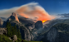 Yosemite Fire (mikeSF_) Tags: california park county sky panorama orange mike night clouds point landscape fire photography long exposure glow cathedral pentax pano smoke flames meadow curry el panoramic falls glacier upper national valley yosemite dome half rest blaze lower 55 mariposa dfa billow plume washburn capitan toulumne oria washburns 645d pentax645d mikeoria