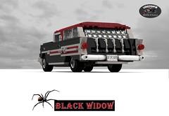 Linotopia - Black Widow - 1957 Pontiac Safari (lego911) Tags: auto usa black classic hardtop car america wagon spider model lego render safari chrome 1950s only 1957 pontiac widow 83 challenge lino v8 fins cad lugnuts povray moc ldd miniland onlyinamerica lego911 linotopia