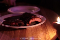 Alex's Tavern's Ribs by the Only Light Available #9062 (Dan Meade) Tags: light food bar canon dark fire 50mm dof memphis dive roadtrip bbq noflash flame foodporn barbecue tavern 7d ribs lighter woodgrain tabletop alexs canon50mmf14usm americanbarbecue manicamerican memphq memdive