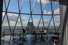 Inside the Gherkin (sarah_presh) Tags: windows sky london smart skyline clouds restaurant view gherkin searcys nikond7100
