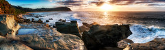 Forresters Beach Panoramic (Puresilk Images (AWAY)) Tags: ocean morning sea panorama sun sunlight seascape beach water sunrise canon eos bay coast rocks central sigma australia spoon panoramic aussie f18 18 35 hdr multi headland forresters 70d