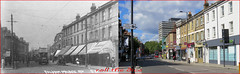 Fulham Palace Road`1913-2014 (roll the dice) Tags: old uk trees chimney bus london art history classic public architecture advertising bread lights closed traffic cctv hammersmith collection doctor nhs shops nurse local streetfurniture sick changes saloon fulham oldandnew hovis pastandpresent londonist sw6 w6 bygone hereandnow hammersmithfulham billyberger