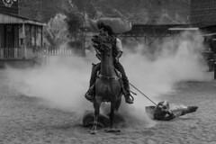 Dragging (RichSnaps -) Tags: horses blackandwhite bw spain cowboy desert dust almeria minihollywood tabernas forafewdollarsmore canon7d tamronsp2470mmf28divcusd