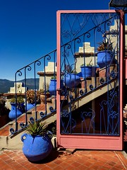 Chefchaouen, Morocco (Lindsay Shanley) Tags: symmetry blue red bluecity chefchaouen door outdoors pots plants pottery morocco africa discover explore
