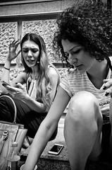 Students (stimpsonjake) Tags: nikoncoolpixa 185mm streetphotography bucharest romania city candid blackandwhite bw monochrome students girls curlyhair