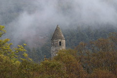 Autumn Mist In Glendalough (Chris*Bolton) Tags: glendalough trees misty mist autumn fall landscape tower roundtower view history historical wicklow ireland