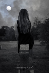 Call of the Wild (taylormackenzie) Tags: girl woman dark black white monochrome moon full clouds cloudy hair call wild trees outside nikon d3000 graveyard cemetery north carolina october
