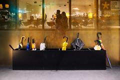 Through The Wall n°2 - Lange Nacht der Museen 2016 (macplatti) Tags: composition ps windowsn night umbrellas schirme regenregennacht rainynight gold blue reflections bregenz vorarlberg austria aut