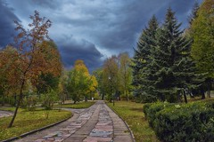 Mainly cloudy (rgbshot72) Tags: autumn yellow park trees leaves sky red forest nature clouds tree maple green landscapes trails spruce mountain ash shrubs paths photo nikon d800e mainly cloudy