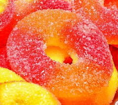 Have a Peachy day! (slammerking) Tags: peachrings candles candy closeup macro sugar sweet sugary peach nikon40mm colorful yum