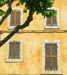 Wood shutters, Brue-Auriac, Var, Provence, France (Hunky Punk) Tags: dwwg brueauriac var provence france architecture building house window shutters wood wooden closed wall stucco yellow stone frame