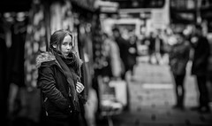 the girl from the market stall (Daz Smith) Tags: dazsmith canon6d bw blackwhite blackandwhite bath city streetphotography people candid canon portrait citylife thecity urban streets uk monochrome blancoynegro mono mrket stall seller young woman girl
