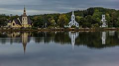 Mahone Bay, Nova Scotia, 3 churches (Ran Valentine) Tags: mahonebay novascotia churches reflection