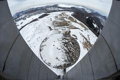 Two ways down (Kriegaffe 9) Tags: buzludzha snow fisheye bulgaria ufo concrete