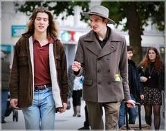 Long Hair and Hat (1980blue Street) Tags: street queenstreet autumn sunny warm boy guy bloke man men candid hat cardiff caerdydd