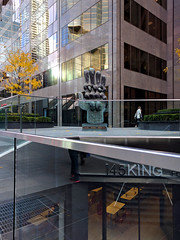 the hand (Ian Muttoo) Tags: img20161111085140shiftnedit gimp toronto ontario canada thehand sculpture bronze soreletrog 1972 145king 145kingstw reflection reflections shiftn