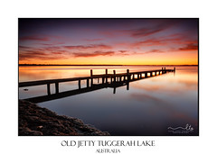 Beautiful skies over Tuggerah Lake with old jetty (sugarbellaleah) Tags: serene lake sky reflections sunrise red yellow calm jetty old timber dawn morning mirror water pretty scenic travel tourism tuggerahlake berkeleyvale silhouette amazing stunning awe australia picturesque