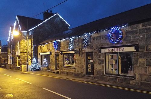 Christmas lights at Llanbedr, Gwynedd