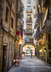 Colourful Alley (HelenBushe) Tags: to do barcelona gothic architecture gothicquarter streets alleys