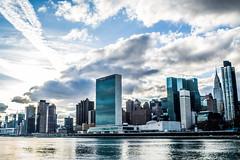United Nations (Phil Roeder) Tags: newyorkcity nyc leica leicax2 rooseveltisland unitednations skyline manhattan sky clouds