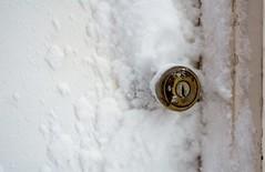 Winter at the Door (karmakerosene) Tags: door doorknob snow snowwy winter nikond7000 nikon d7000 35mm simple simplistic stilllife