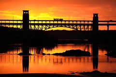 Transporter (dilys_thompson) Tags: transporter britanniabridge britannia bridge sunset sky silhouettes reflections reflection menai menaistraits water straits anglesey northwales fuji fujixt2