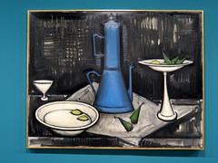 Still life with blue coffee pot (1956) by Bernard Buffet (Sokleine) Tags: buffet bernardbuffet painting tableau muse museum exhibition mam modernart 20thcentury musedartmoderne paris 75016 frenchheritage france art culture naturemorte stilllife blue cafetire coffeepot