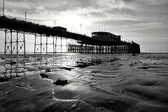 Worthing Pier. (Rushie.) Tags: worthingpier lowtide worthinglowtide beach pier sand reflection blackwhite rushie laurarushrivoire
