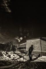 Sakar ar mkoiem / Due to the clouds (Andis Svare) Tags: clouds contact blackandwhite winter man antennas