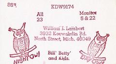 Night Owl & Day Owl - North Street, Michigan (73sand88s by Cardboard America) Tags: qsl cbradio cb vintage postcard owl rubberstamp michigan qslcard