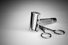 Razor_Scissors (CarrilloImage) Tags: razor bw product scissors shiny chrome