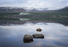 Cairngorm Reflections.. (LoneWolfA7ii) Tags: green loch morlich cairngorm sony a7ii water reflection clouds sky long exposure rocks stone mountain trees scotland snow mist lake weather blue winter highlands landscape outdoor