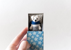 lab in box (free_dragonfly) Tags: dog toys tiny miniature matchbox white blue clay polymer cute handmade