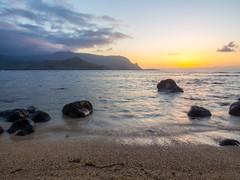 Kauai Sunset [Explored] (jp3g) Tags: ocean sunset sun mountains beach clouds sunrise hawaii rocks olympus cliffs kauai hanalei 418