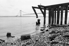 The Humber Bridge under construction, 1980. The bridge opened in 1981 and replaced the Humber ferry boats. (John / Arc-Images) Tags: bridge construction under 1980 humber the