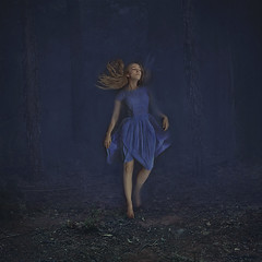 gateway to river willow (brookeshaden) Tags: nature girl fog forest dark surrealism creepy mysterious storybook whimsical storytelling fineartphotography bluedress anotherdimension fairytalephotography brookeshaden brookeshadenphotography