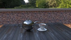 tea 2.4 (Nibbler1977) Tags: lighting wood light cup metal wall silver 3d tea render pot software blender rendering rendered hdri cycles nodes