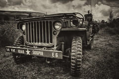 The Jeep (Martyn.Smith.) Tags: bw canon silver lens army photography eos mono photo flickr jeep image sigma pro nik armyvehicle 1770mm efex