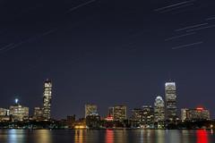 Star Trails over the Boston Skyline - 2014-08-14 - POTW 2014-08-17 (BillDamon) Tags: boston skyline night nightshot zakimbridge bostonskyline