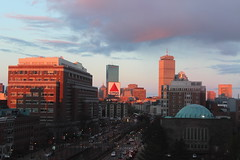 705A (Lauren Backus) Tags: street city pink blue light sunset red sky sun building beauty boston buildings triangle shadows purple warren setting kenmore freshmanyear commave citgo 7a bostonuniversity citgosign kenmoresquare warrentowers 705a