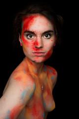 (iamclaracspencer) Tags: blue red portrait orange woman chicago color art college girl beauty nude photography photo student intense model nikon paint artistic columbia powder nudity holi finalproject tumblr d3100 iamclaracspencer claraspencer ccc2017
