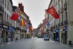 Rue de la Libert (Morning) (jpellgen) Tags: morning travel summer france architecture 35mm french nikon europe european dijon burgundy august flags nikkor 2014 ruedelalibert d5100