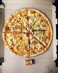 Fantasia (mikasoikkeli) Tags: finland big helsinki cut pizza fantasy pineapple onion matches proportion jalapeno matchbox cardboardbox sampo blackpepper mincedmeat iphone5 tulitikkuaski vscocam